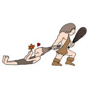 A Caveman Dragging off his New wife.