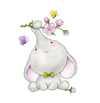 Baby Elephant Holding Rose Flower.