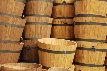 Garden barrels for container roses.