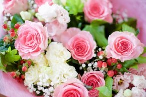 The Bonica Rose in a Bouquet.
