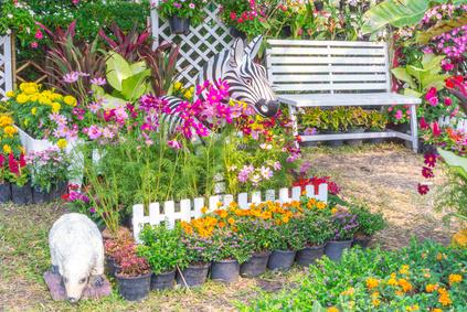 A Beautiful Perennial Garden Setting Using Pots.
