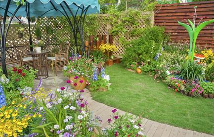 Relaxing Setting In A Cheerful Perennial Garden.