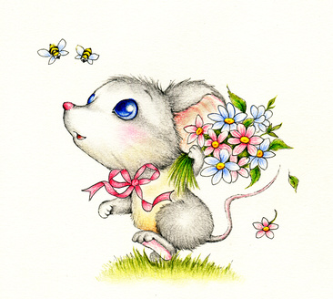 Sweet Mouse Holding Flower Bouquet.