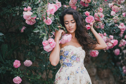 Girl Amongst The Fragrant Roses.