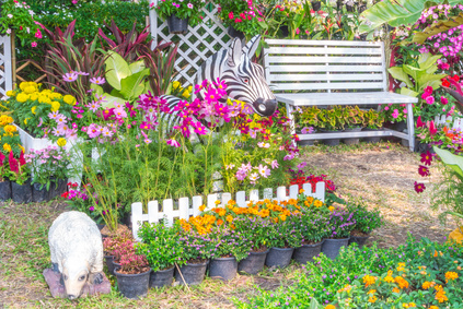 A Beautiful Perennial Garden Setting Using Pots.