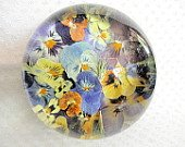 Paperweight made from real pressed flowers.